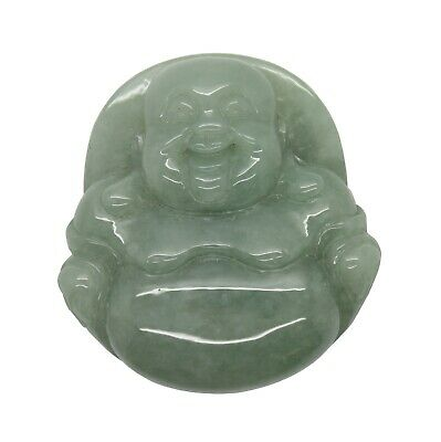 Jade Pendant Light Green Sitting Happy Buddha, Laughing Buddha Figure k208N