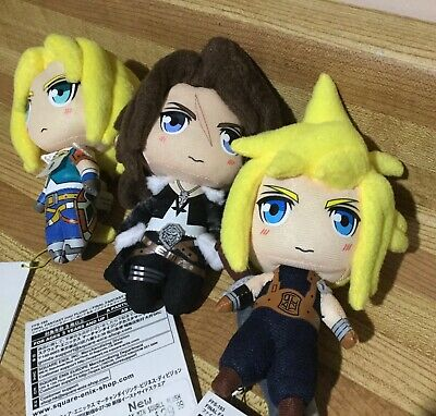 Square Enix Final Fantasy VII Cloud Strife, Zidane, Squall Chibi Mini Plush Lot