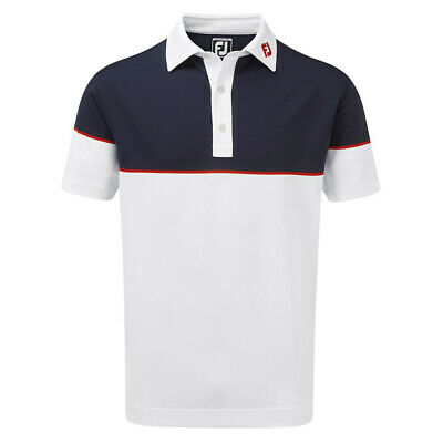Footjoy Mens Colour Block Stretch Pique Wicking Polo Shirt 36% OFF RRP