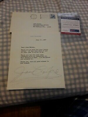 Joan Crawford 6×7 Signed Letter PSA/DNA