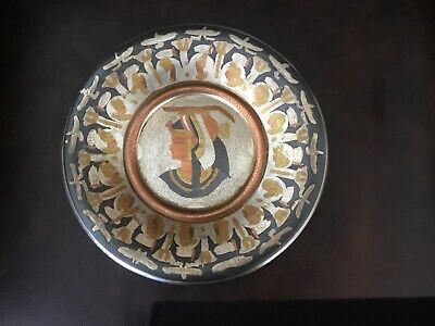 Vintage Egyptian Copper & Brass Wall Plaque Plate Dish From Egypt Hand Made