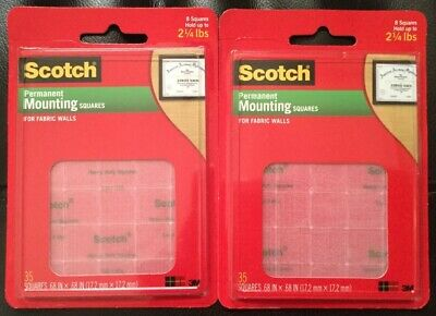 2 Packs of Scotch Permanent Mounting Squares For Fabric Walls 35 Count