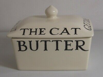 EMMA BRIDGEWATER Black Toast & Marmalade DON'T LET THE CAT Get.....Butter Dish