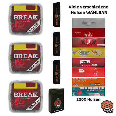 3x Break Original Rot Volumentabak Giga Box 250g + 2000 Hülsen wählbar