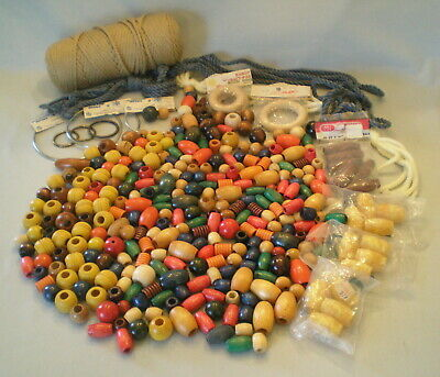 Huge Lot Vtg Macrame Craft Supplies ~Colorful Wooden Beads ~Rings ~Cord ~Hangers