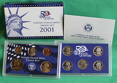 2001 S US Mint ANNUAL 10 Coin Proof Set Original Box and COA As Issued