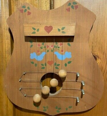Light Chestnut Shade Vintage Wood Door Harp Chime Hand Painted Hearts/Birds