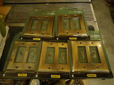 Lot Of 5 Double Rocker/Switch/Outlet Plate Covers Antique Brass Metal
