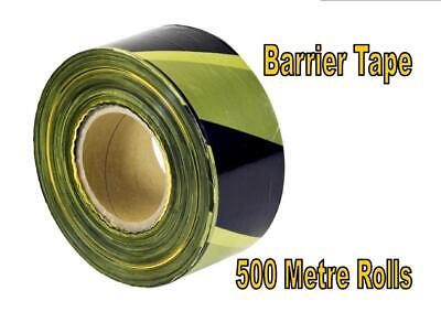 X500M Roll WARNING BARRIER TAPE 70mm caution safety hazard YELLOW BLACK