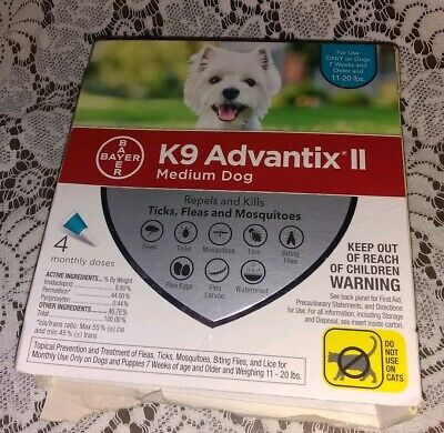 K9 Advantix II for Medium Dogs 11-20 lbs - 4 Pack - COMPLETE BUT OPEN BOX