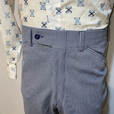 Vtg 60s 70s Mens 34 31 Navy White Houndstooth POLYESTER Leisure Suit Pants Disco