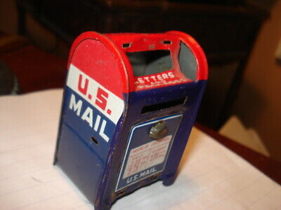 Vintage US Post Office MInature Tin Mailbox Bank --Red White Blue