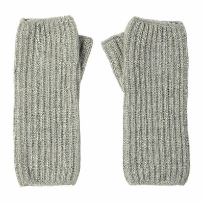 Johnstons Of Elgin Ribbed Wrist Warmer Womens Gloves - Silver One Size