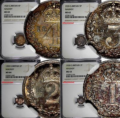 GREAT BRITAIN George V 1920 Maundy Set (4 Coin) NGC MS64,MS63,MS62 Mintage-1,399