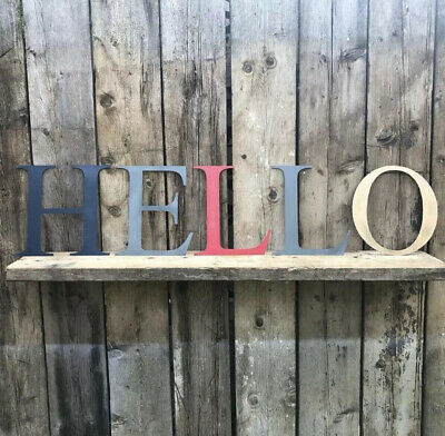 Hello Rustic Distressed Metal Letters Home House Sign Lettering Classic Kitchen