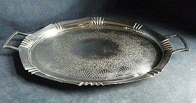 """SUPERB Very LARGE 21"""" ~ SILVER Plated ~ Platter TRAY ~ c1900 by Hukin & Heath"""