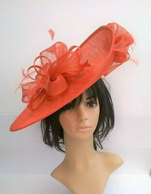 Coral Hatinator Sinamay & Feather Large saucer disc Wedding hat .races.*new