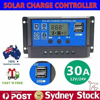 30A PWM 12V/24V Solar Panel Battery Regulator Charger Controller LCD Display USB