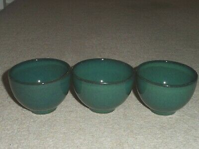 3 x BARELY USED DENBY GREENWICH GREEN SMALL DIPPING / SERVING BOWLS SET - RARE!
