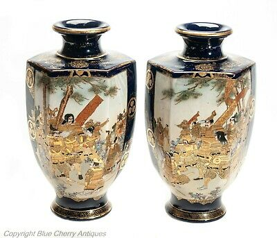 Fine Pair of Large Antique Meiji Japanese Satsuma Pottery Vases by Hattori