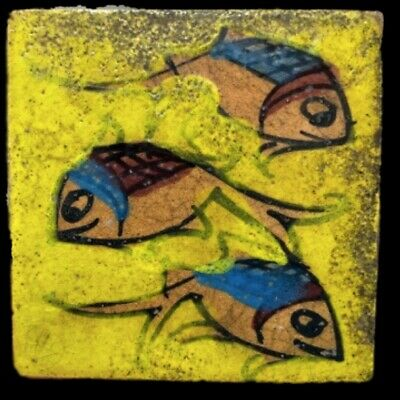 Rare Ancient Near Eastern Glazed Ceramic Tile 6Th Century A.d. (14)
