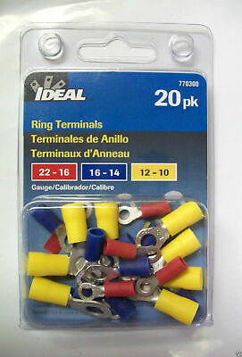 Ideal 20-Pack Ring Terminal Wire Connectors 20 Pack – 770300 Lot of 10 packs
