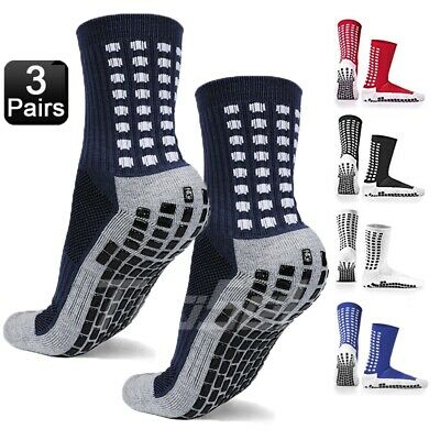 3 Pairs Sport Socks Anti Slip W/Grip Soccer Men Football Basketball Sock Premium