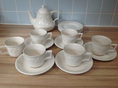 BHS Lincoln White Teapot, Tea Plates and Cups and Saucers