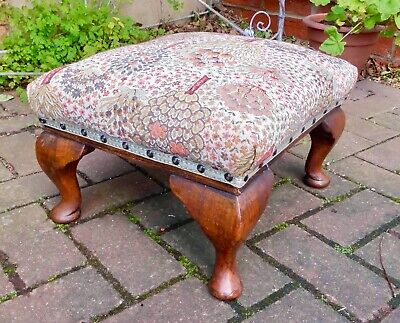 Small Vintage Rectangular Footstool~Oak Cabriole Supports~Wm Morris Style Fabric