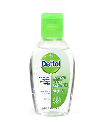 Dettol instant hand sanitizer original kills 99.9% of germs without water 50ml