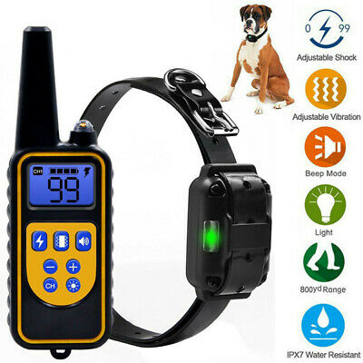 Pet Dog Training Collar Rechargeable Electric Shock LCD Display Waterproof 800M