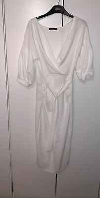 White Boohoo Maternity Dress Size Uk 14