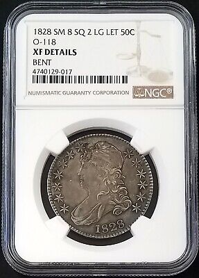 1828 Capped Bust Half Dollar, Small 8, Square 2, Large Letters, NGC XF Details!