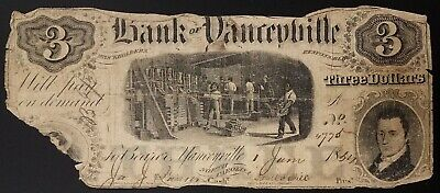 1854 Bank of Yanceyville, Three Dollars paper note! Hand numbered and signed!