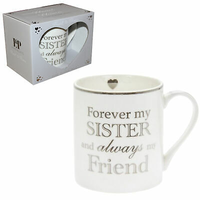 White Fine China Mug Cup with Silver Wording Gift Boxed - Forever My Sister