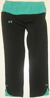 Girls UNDER ARMOUR Black Heat Gear Blue Trim Fitted Athletic Leggings XS 7 8