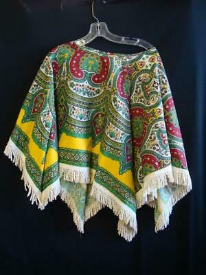 Nice Looking Colorful Homemade Poncho Shawl with Fringe