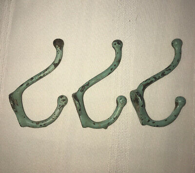Solid Brass Wall Mount Hat Coat Hooks Lot Of 3 Vintage Patina Green