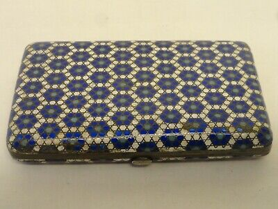 Antique Russian silver 84 champleve enamel cigarette case by Gustav Klingert