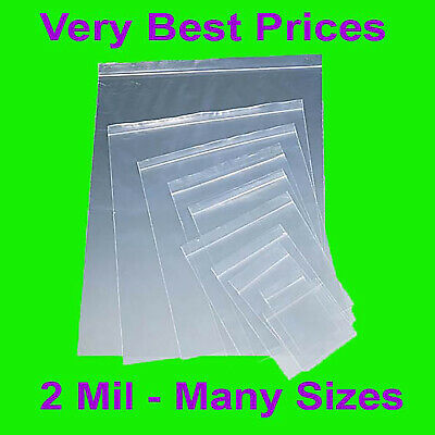 Clear Reclosable Zip lock Plastic 2-Mil Poly Bags