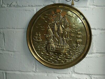 Arts & Crafts Brass Galleon Ship Wall Plate