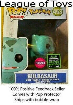 Funko Pop BULBASAUR FLOCKED ECCC Shared Exclusive Preorder + 0.5mm Protector