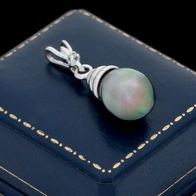 Antique Vintage Deco Mid Century 14k White Gold Tahitian Pearl Diamond Pendant