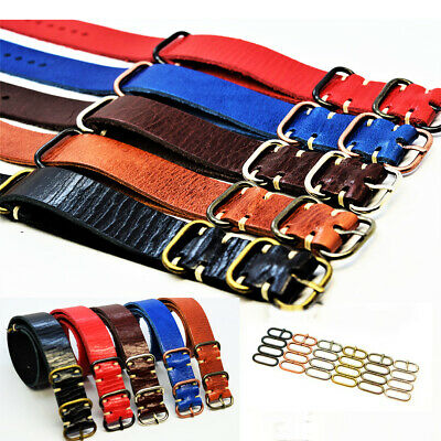 Nato Leather Watch Strap,fits Omega Band, Military style,Handmade 18 20 22 24 mm