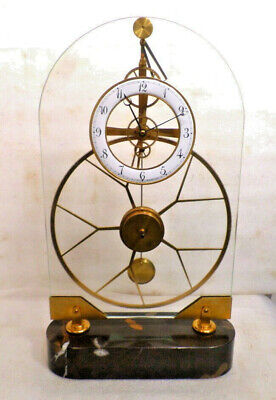 Stunning Glass Skeleton Great Wheel Clock & Marble Base--Pinwheel Escapement