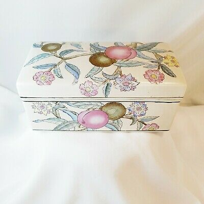 Vintage WBI Large Chinese Porcelain Floral Plum Trinket/Jewelry/Tea Box