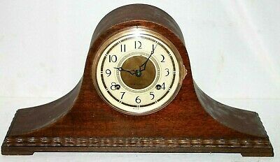 "Antique Mahogany Art Deco New Haven ""Tambour No. 6"" Mantel/ Shelf Clock W/ Chime"