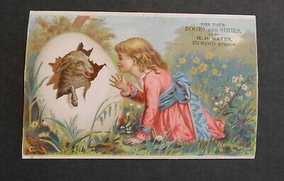 Victorian Trade Card 1880's H.D. Bates Boots & Shoes Easter Egg Lamb & Girl
