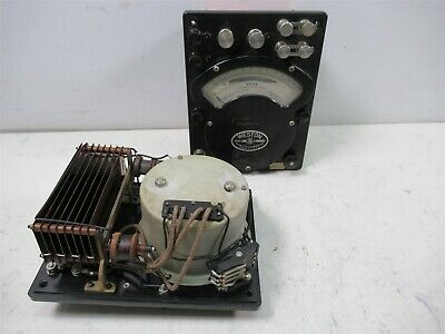 Lot of 2 Vintage Weston Model 310 AC/DC Wattmeter Analog Panel Display