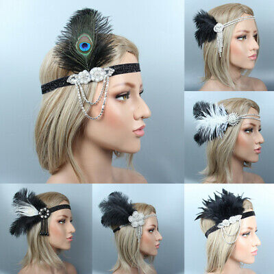 Women Hair Accessories Feather Headband Party  Cocktail Vintage Gatsby Hair